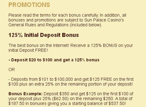 sun palace no deposit bonus codes 2014