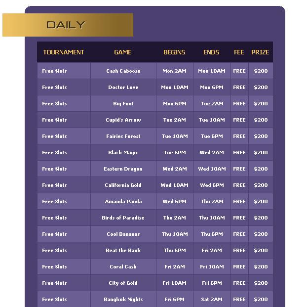 Free slots tournaments no deposit
